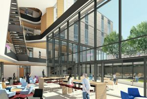 A rendering of the inside of the building looking out at the courtyard
