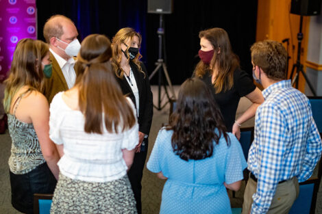 Nicole Hurd chats with students in the Marlo Room