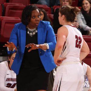 Lafayette women's basketball coach Kia Damon instructs a player.